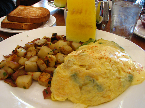asparagus and gruyere omelet topped with Hollandaise