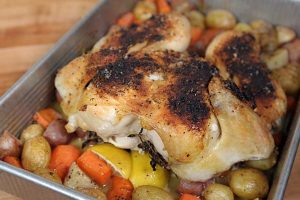Spatchcocked Roasted Lemon Chicken with Potatoes and Carrots