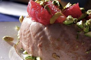 Milk Chocolate Panna Cotta with Blood Oranges and Pistachios