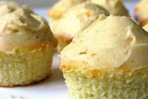 Vanilla Muffin Cupcakes with Salted Caramel Frosting