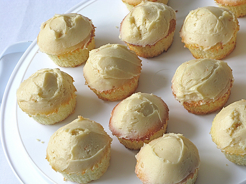 Top view of a batch of Vanilla Muffin Cupcakes with Salted Caramel Frosting | Foodal