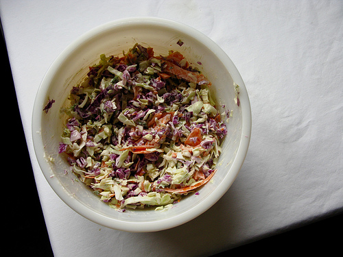Top view of a bowl of homemade coleslaw   Foodal
