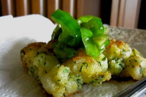 Potato Fritters with Sweet Pepper Relish