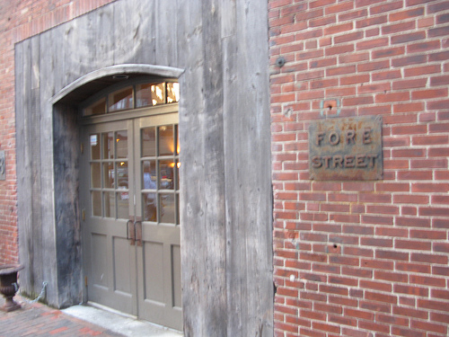 "The main entrance of a restaurant called ""Fore Street""."