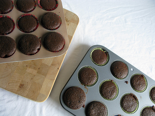 Two trays of freshly baked chocolate cupcakes, still warm from the oven.