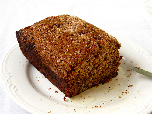 A slice of banana bread on top of a white plate.