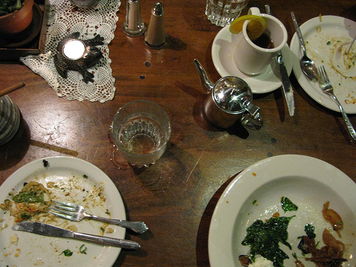 Image of a table with empty plates after a full meal.