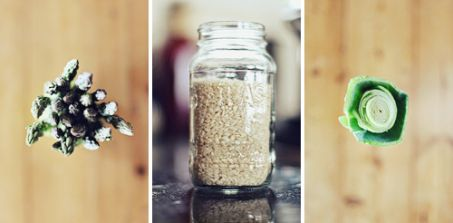 A collage image of a risotto in a jar, asparagus, and a leek.