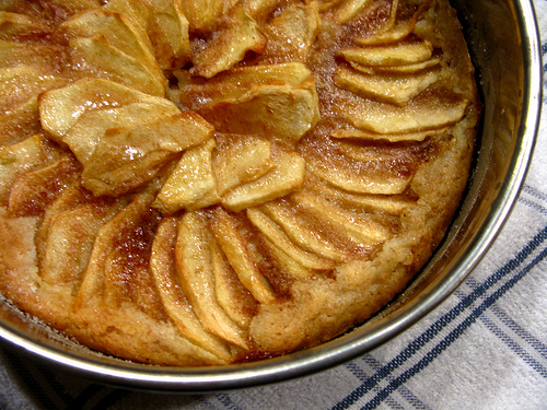 Top view of luscious golden apple tart cake.