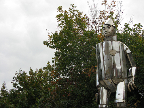 A life size image of Tin Man adapted from the fairy tale, The Land of Oz.