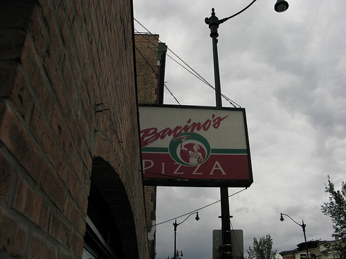 An image of a signage of Bacino's Pizza.