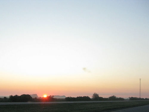 A distant yet sunset view over the horizon.
