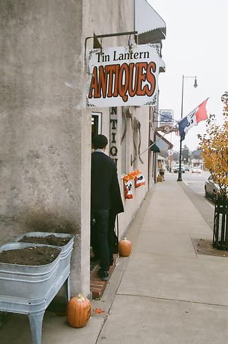Antique shops along the road.