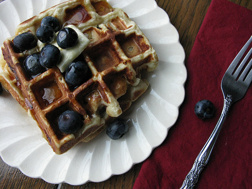 Delicious waffles topped with blueberries on a white plate.