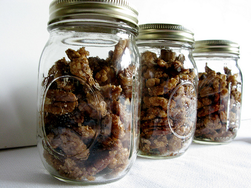 A couple of mason jars filled with delicious candied nuts.