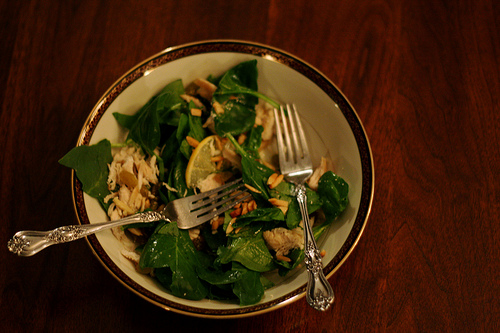 A top view of a bowl of chicken and greens.