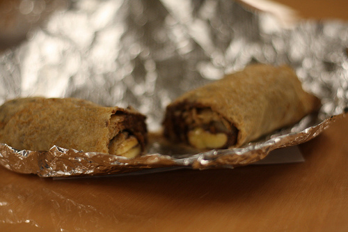 An image of a healthy wheat crepe in a foil.