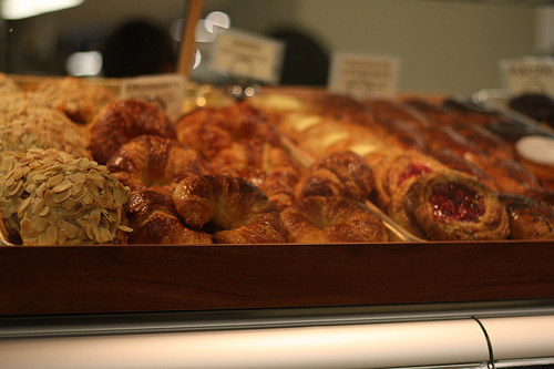 Various scrumptious and delicious looking pastries on display.