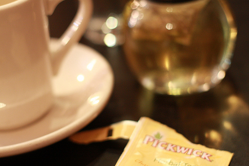 A closeup image of a sachet of herbal tea with a white cup on the side.