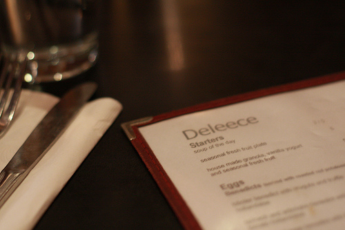 A closeup image of Deleece menu.