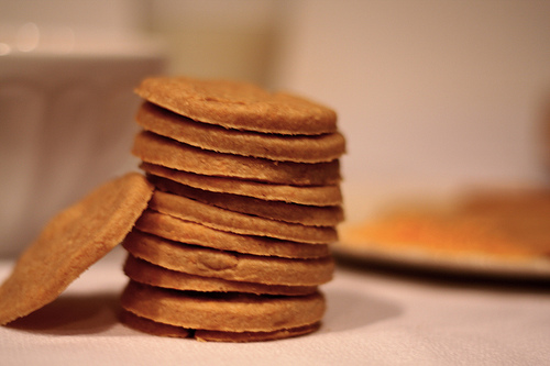 A close up image of stacked cheese crackers.