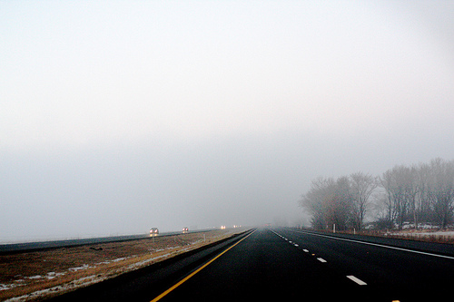 An image of a long road home.