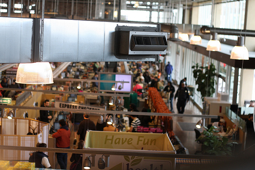 An image showing the interior of a whole food market.