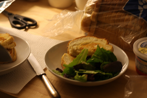 An image of a grilled cheese sandwich on a plate with a bread knife beside it and a loaf of bread at the back.