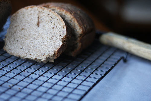 An image of a loaf of bread on a cooling rack.