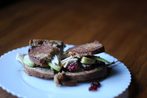 An image of a delicious looking sandwich on a white plate.