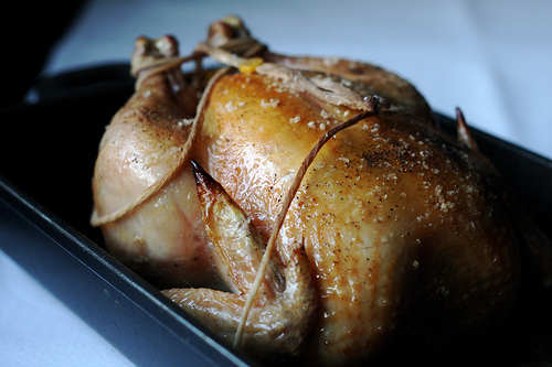 Close up image of a beautifully browned roasted chicken still warm from the oven.