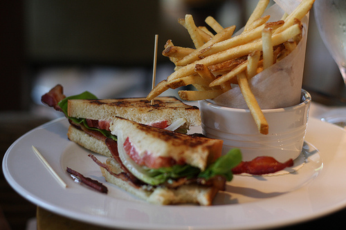 A close up image of a plate filled with potato fries and a delicious sandwich.