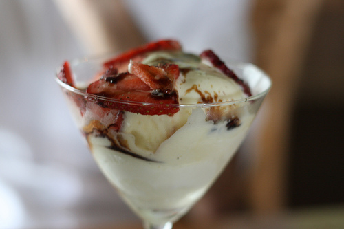 A close up image of a delicious creamy dessert.