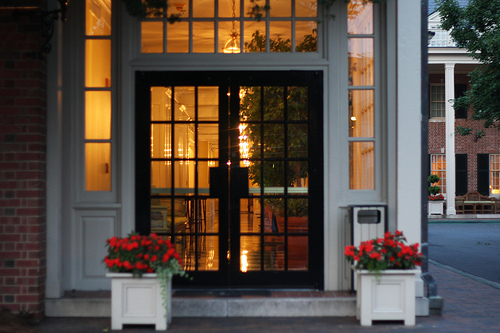 An outside view of an entrance of a hotel in North Carolina.