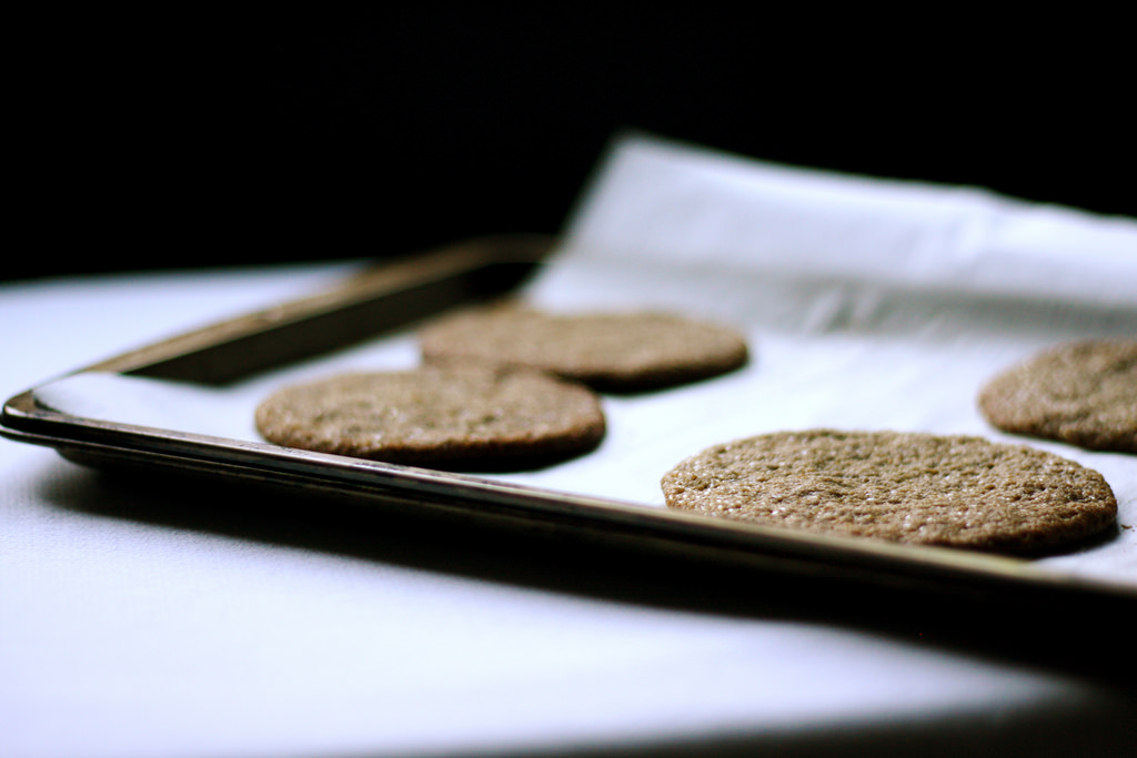 A close up image of buckwheat cookies still warm from the oven.
