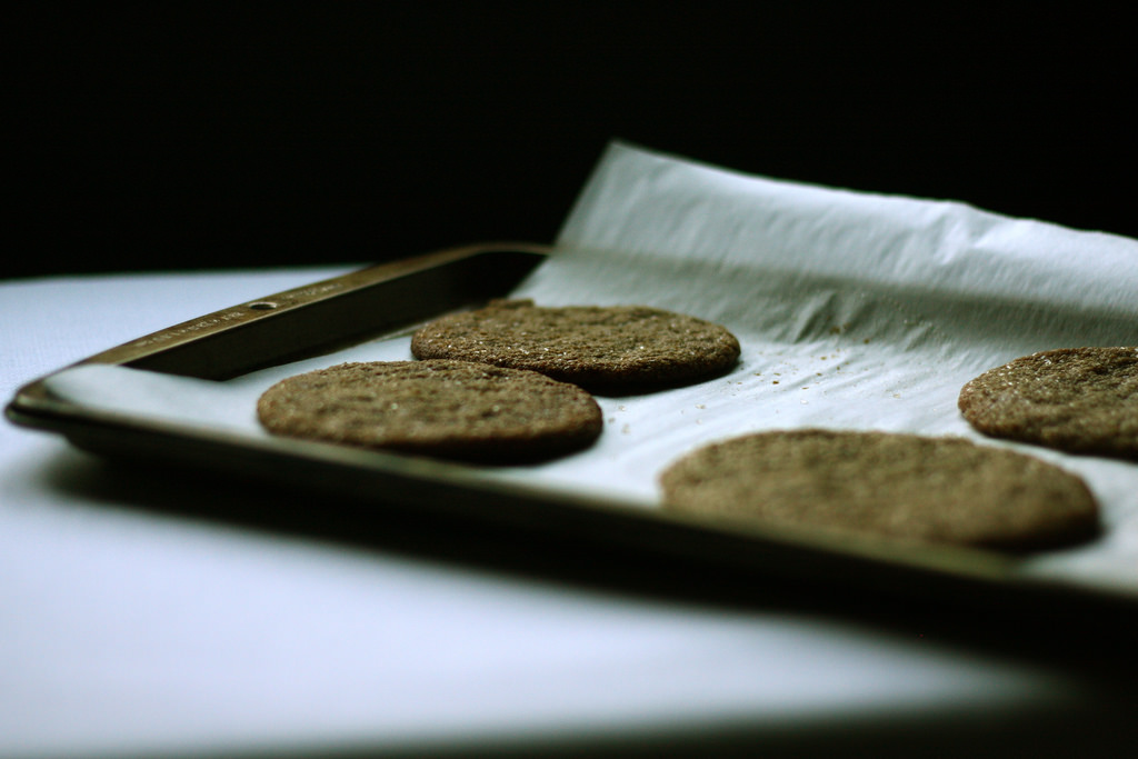 A tray of delicious ginger cookies.