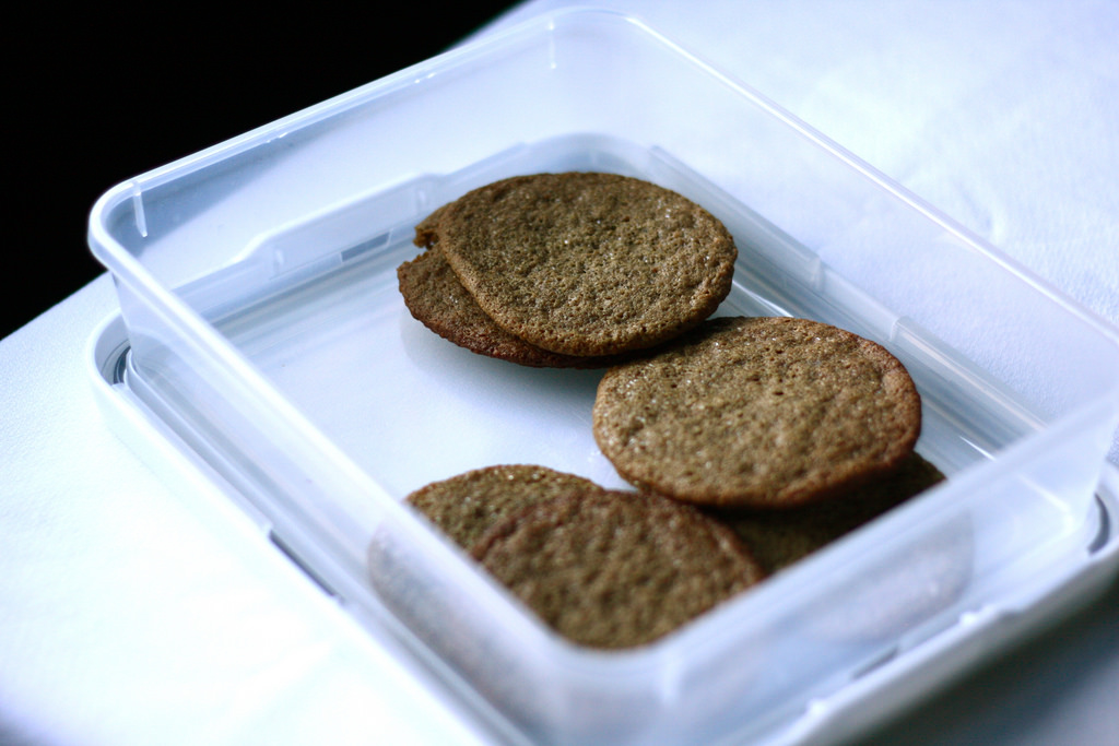 A plastic container half full of buckwheat ginger cookies.