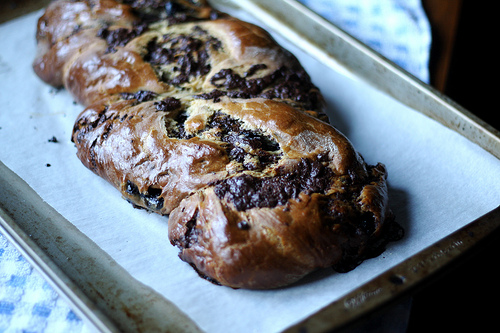An image of a chocolate babka against a white background.