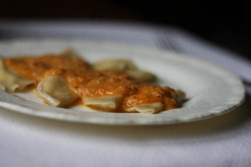 An image of a ravioli topped with fresh tomato sauce.