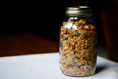homemade granola with soaked oats in a jar