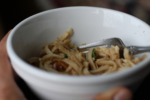 An image of white bowl with Udon noodles in it.
