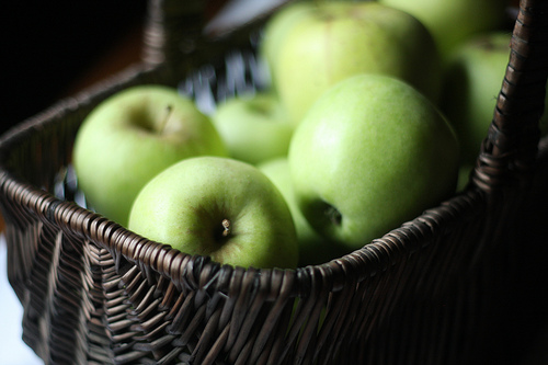 An image of a woven basket filled with crispy green apples.