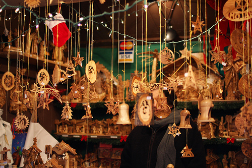 An image of various hanging Christmas ornaments.