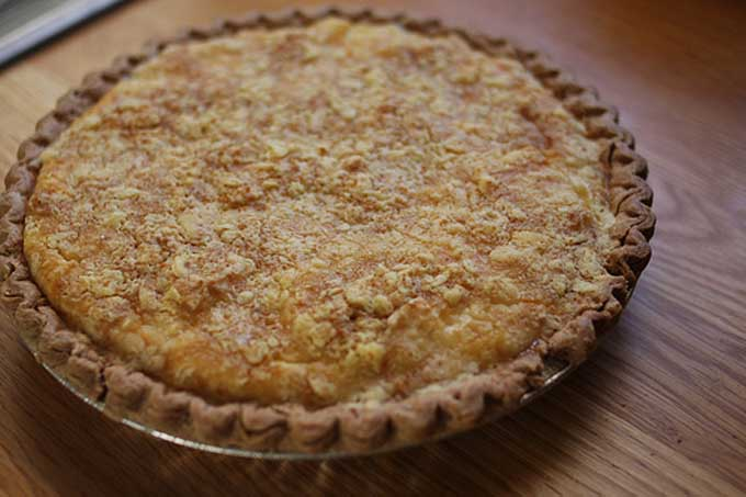 The completed baked and ready to serve pear custard pie | Foodal