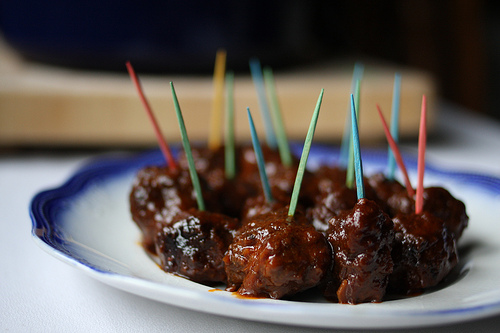 A close up image of delicious meatballs.