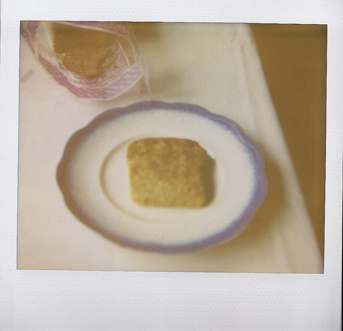 An image of a single toasted bread on a plate with blue edging.