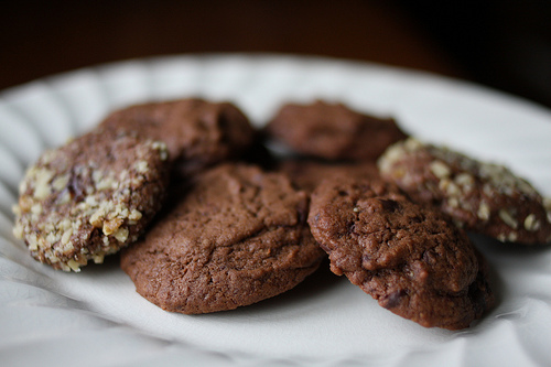 Delicious chocolate cookies on a white plate.