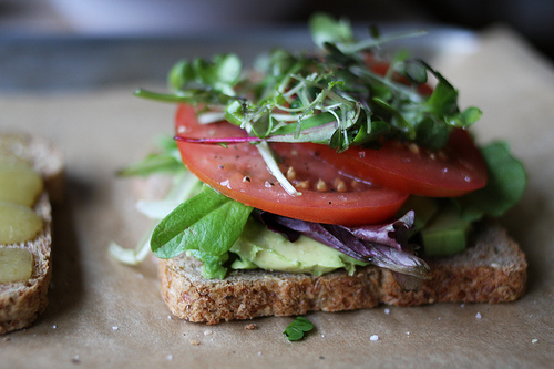 A close up image a slice of bread topped with sprouts, ripe tomato slices, mixed greens, and avocado.