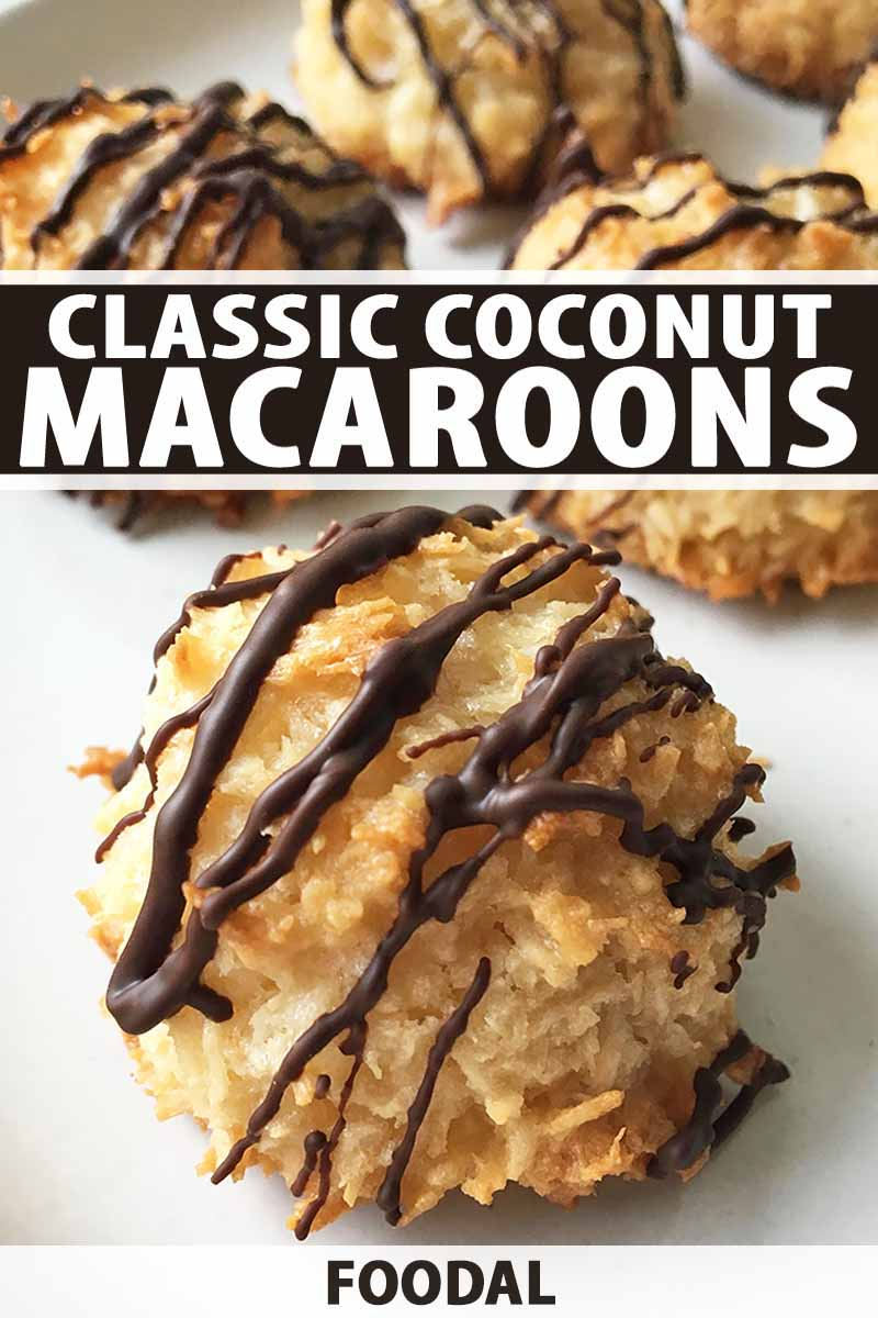 Vertical image of macaroons drizzled with chocolate and white text with a dark brown background.