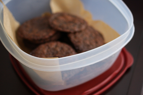 An image of a close up view of thin chocolate cookies in a plastic container.